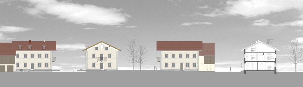 Zuhaus-Zeichnung-Ansichten